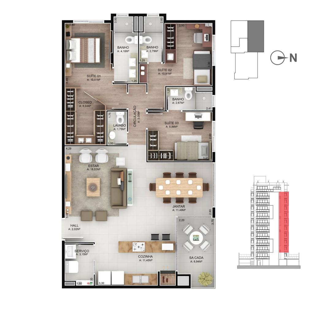 Apartamentos 302 a 1102